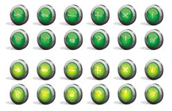 3d buttons set. The collection of 3d green buttons Stock Images