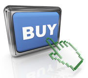 3d buy button and pointer Stock Photos