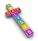 3d Buzzword 'gap analysis'. 3d text cubes of buzzword 'gap analysis Royalty Free Stock Photo