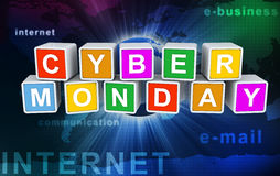 3d buzzword text cyber monday. 3d colorful buzzword cyber monday on background of abstract internet wallpaper Stock Image
