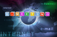 3d buzzword text e-meeting. 3d colorful buzzword text e-meeting Stock Photos