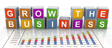 3d buzzword text 'grow the business'. 3d colorful buzzword series - text 'grow the business Stock Photo