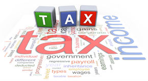 3d buzzword text tax. 3d colorful buzzword text 'tax' on the background of income tax wordcloud Stock Images