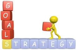 3d bygger strategi för man för affärstecknad filmmål Royaltyfri Bild