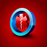 3D caduceus medical symbol. Royalty Free Stock Image