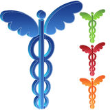 3D Caduceus Set of 4. Set of 4 3D caduceus icons in assorted colors Royalty Free Stock Photography