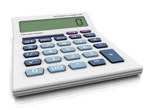 3D calculator with 0 symbol. On LCD panel - Crisis is NOW Stock Images