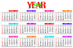 3D calendar. Grid year 2014 Stock Photography