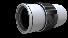3d camera lens. 3d illustration of a camera lens up close Royalty Free Stock Image