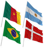 3D Cameroon, Argentina, Brazilian, Danish flags. 3D flags of world with fabric surface texture. White background Stock Image