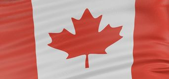 3D Canada Flag. With fabric surface texture. White background Stock Images