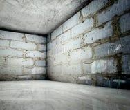 3d canto, interior concreto do tijolo Imagens de Stock Royalty Free