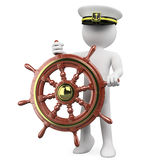 3D Captain sailing a wooden rudder Stock Photos