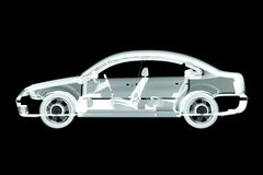 3d car x-ray. Render stock illustration