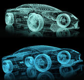 3d car wire. On black Stock Photo