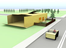 3d cardboard house. Simple landscape with views of the house made of cardboard Royalty Free Stock Photos