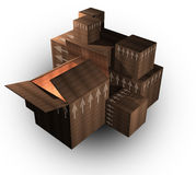 3d cardboard packing boxes. A computer rendering of several 3d cardboard packing boxes Royalty Free Stock Photos