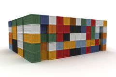 3d cargo containers stacked Royalty Free Stock Image