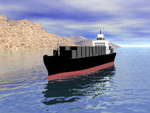 3D Cargo Ship with Land Stock Images