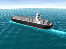 3D Cargo Ship in Ocean Stock Photography