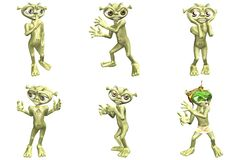 3D Cartoon Aliens. 6 For The Price Of 1 Royalty Free Stock Photo