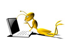 3d Cartoon Ant with his Computer Stock Photos