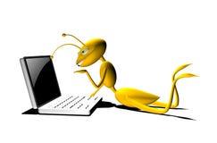 3d Cartoon Ant with his Computer Stock Photos