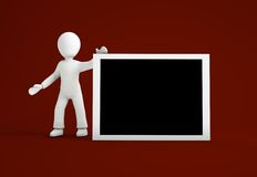 3d cartoon character with black board Stock Photo