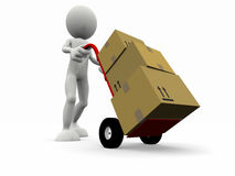 3d cartoon character that transport some boxes Stock Photos