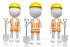 3D Cartoon Characters - Workers Holding Shovels Stock Photography
