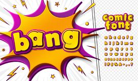Free 3d Cartoon Comic Font. Kid`s Alphabet In Style Of Pop Art. Multilayer Colorful Pink-yellow Letters On Comics Book Page Stock Images - 157848984