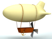 3d cartoon dirigible balloon Royalty Free Stock Photo
