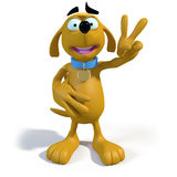 3D cartoon dog. 3d rendering of adorable cartoon dog holding up his hand in a sign of victory or peace Stock Photography