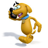 3D cartoon dog talking on phone. 3D rendering of a cartoon dog walking while talking on a mobile phone Stock Photography