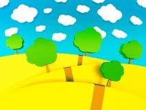 3d cartoon illustration of landscape for children. Trees and mountain Royalty Free Stock Photo