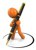 3D cartoon man with pen. 3D cartoon orange man holding a pen and drawing a circle on a white background Stock Photos