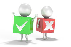 3d cartoon men in green and red boxes. 3d cartoon men with right answer in a green box and wrong answer in a red box Vector Illustration