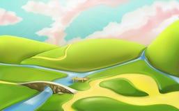 Free 3d Cartoon Nature Landscape With Bridge Royalty Free Stock Photo - 74444775