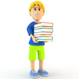 3d cartoon school boy Stock Photo
