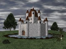 3D Castle with moat Royalty Free Stock Photography