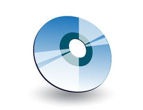 3D CD. Blue three dimentional shiny cd on white background with shadow Royalty Free Stock Image