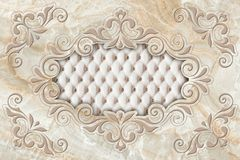Free 3d Ceiling Murals Wallpaper, Stucco Moulding On Marble Background. Stock Image - 141809911