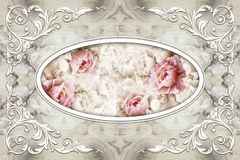 Free 3d Ceiling Murals Wallpaper, White Decor Frame, Stone Roses In The Middle On Grey Marble Background. Royalty Free Stock Photo - 142433275