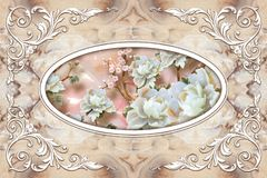 Free 3d Ceiling Murals Wallpaper, White Decor Frame, Stone Roses In The Middle On Grey Marble Background. Royalty Free Stock Photography - 142433337