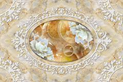 Free 3d Ceiling Murals Wallpaper, White Decor Frame, Stone Roses In The Middle On Grey Marble Background. Stock Photo - 142433600