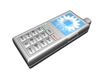 3D Cell Phone Silver Stock Images