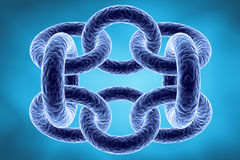 3d chain. Blue 3d chain abstract on light blue background Royalty Free Stock Image