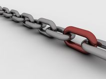 3d chain. Chromium 3d chain with one red link. Computer render stock illustration