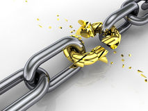 3d chain. Weakest link ,breaking free Stock Image
