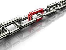 3d Chain. 3d illustration of chain with red link Royalty Free Stock Photography